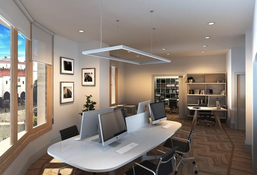Infografías 3D para proyecto de interiorismo en oficinas del edificio La Polar, Santander 2