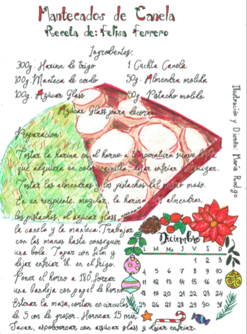 Calendario Dulce 2017 con Recetas Ilustradas. María Rod.go & Company... 12