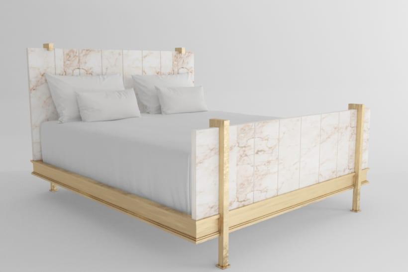Versión de cama con placas de alabastro del diseñador Marc du Plantier -1