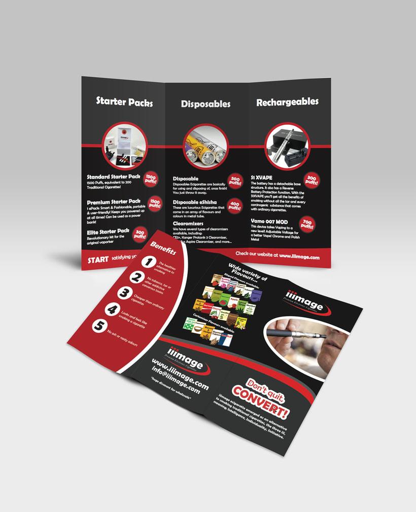 iiimage Electronic Cigarettes - Branding, diseño y illustración para web y impresión, incluyendo folletos, tarjetas de visita, embalaje. 0