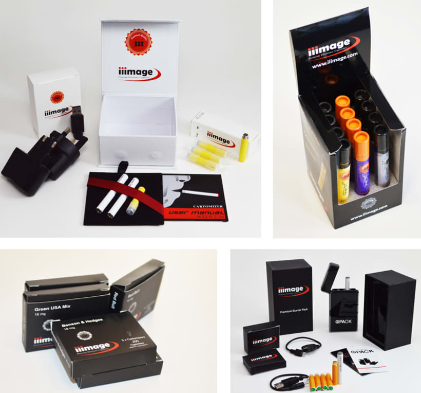 iiimage Electronic Cigarettes - Branding, diseño y illustración para web y impresión, incluyendo folletos, tarjetas de visita, embalaje. 4
