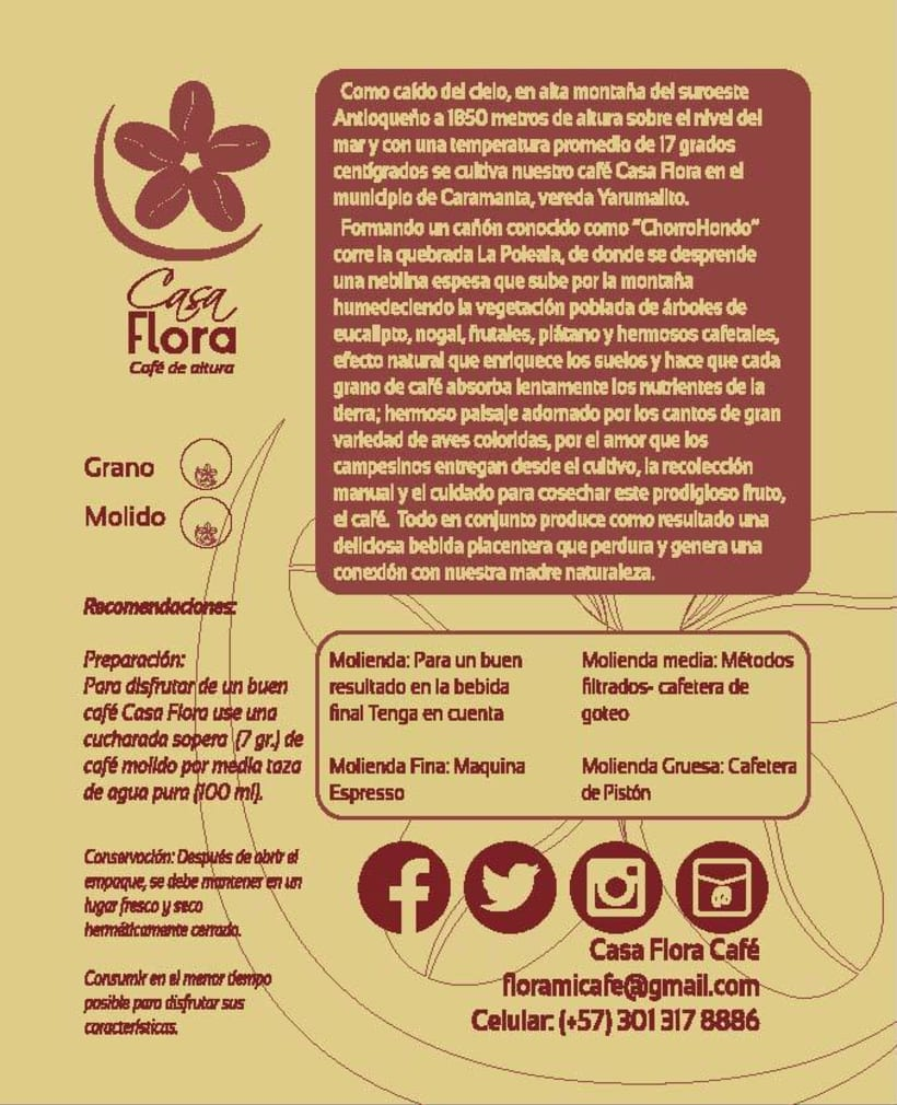Logo y empaque café Casa Flora 0