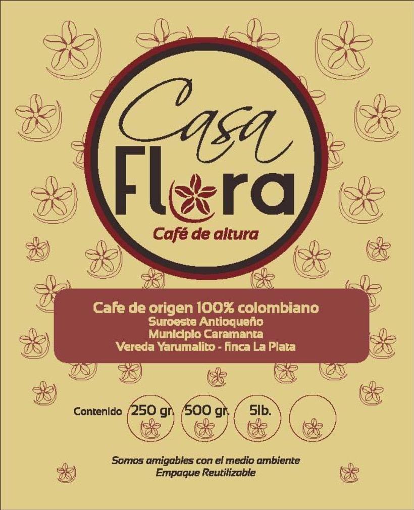 Logo y empaque café Casa Flora 2