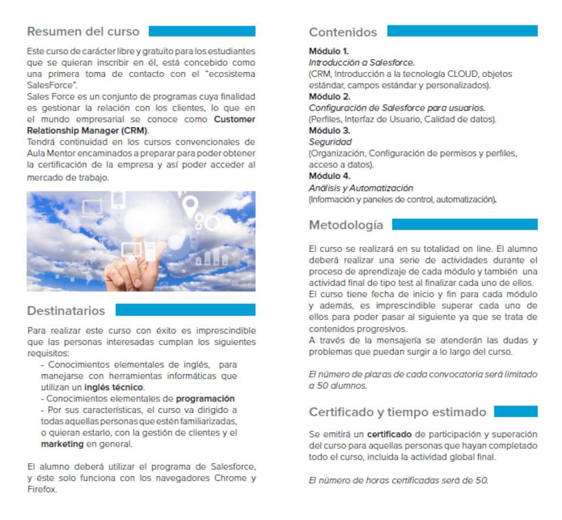 Moodle Introducción a Salesforce, estrategias de marketing tecnológico - Aula Mentor 2