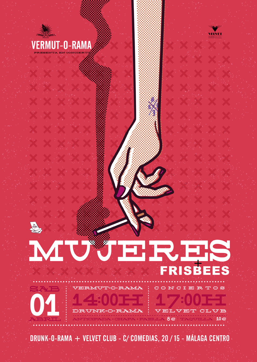 Cartel MUJERES + frisbees - Vermut-O-Rama - 1 Abril 1