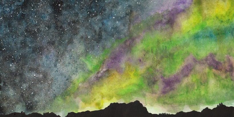 Mi Proyecto del curso: Técnicas modernas de Acuarela.  Aurora boreal y galaxia  -1