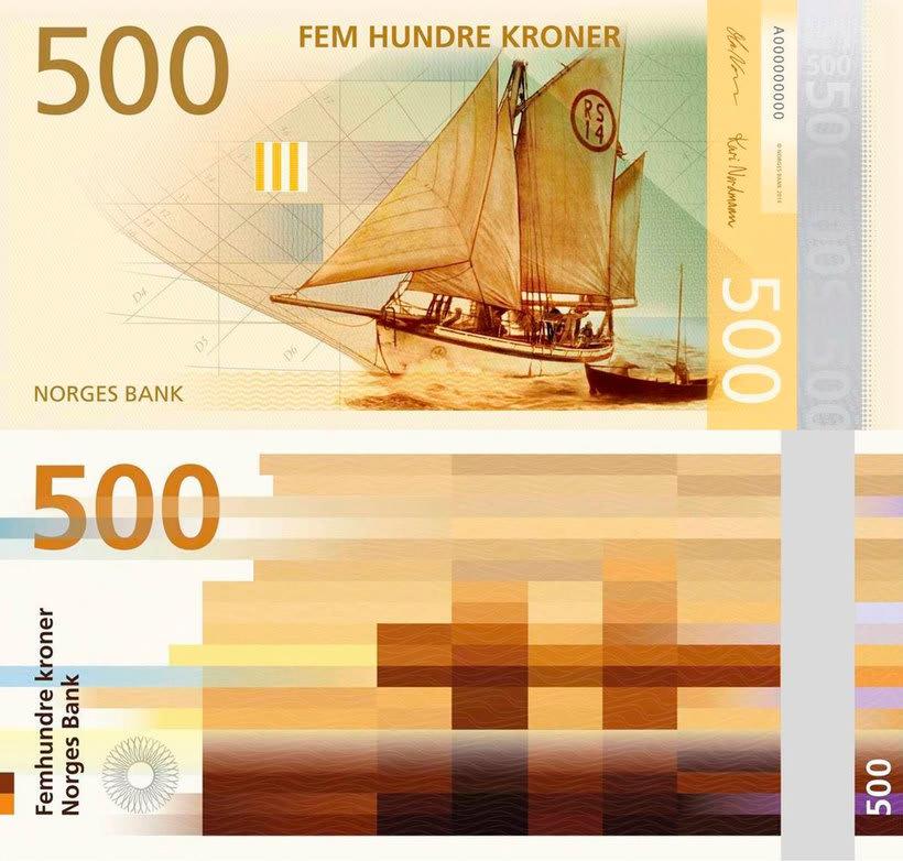 Noruega estrena billetes con diseño pixelado 9