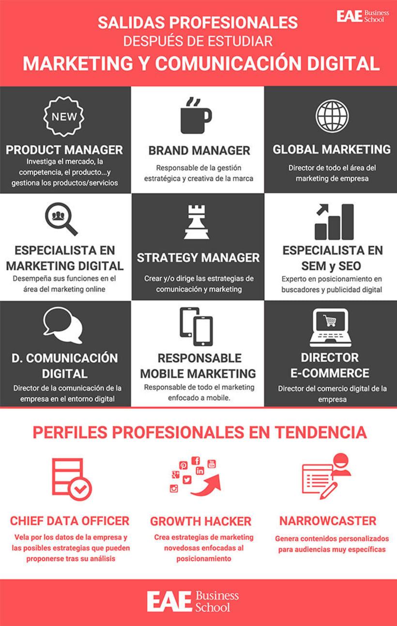 """Infografía """"Salidas profesionales después de estudiar Marketing y Comunicación Digital"""" -1"""