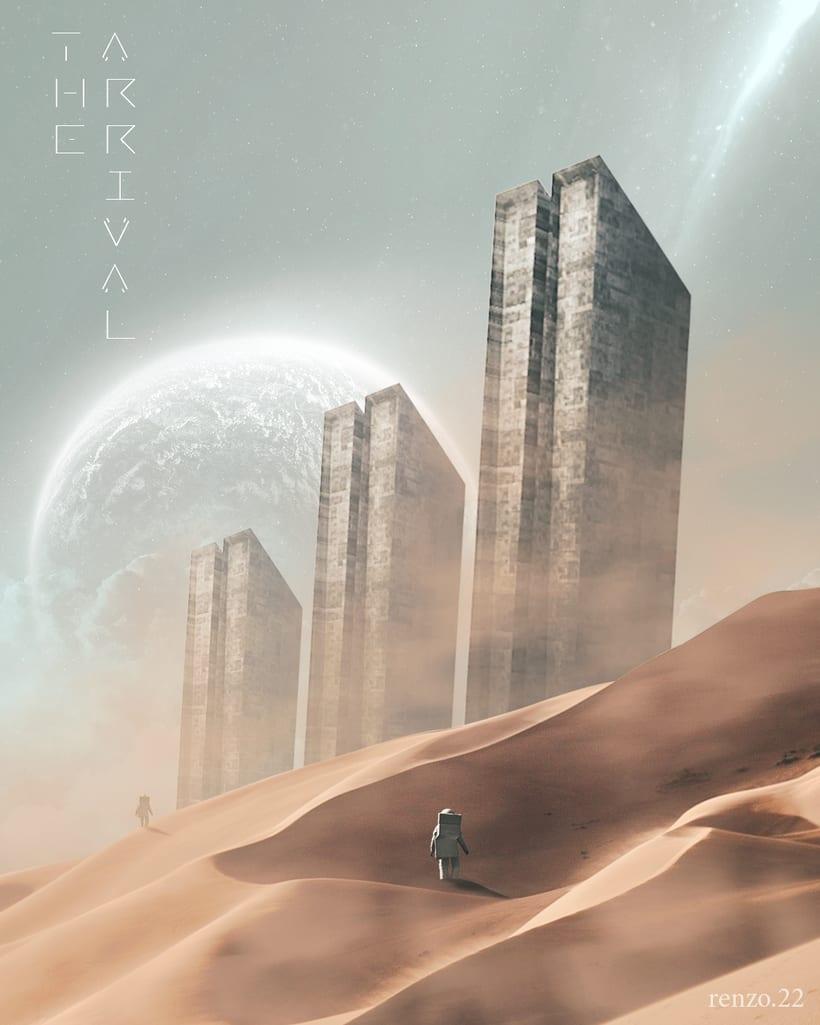 """Afiches 3D """"el viajero y las esferas""""  6"""