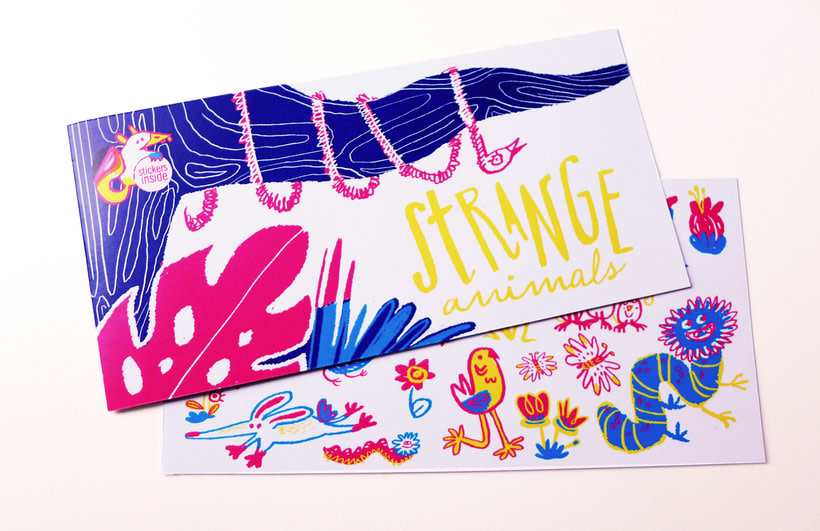 Strange animals | Stickers children card 0