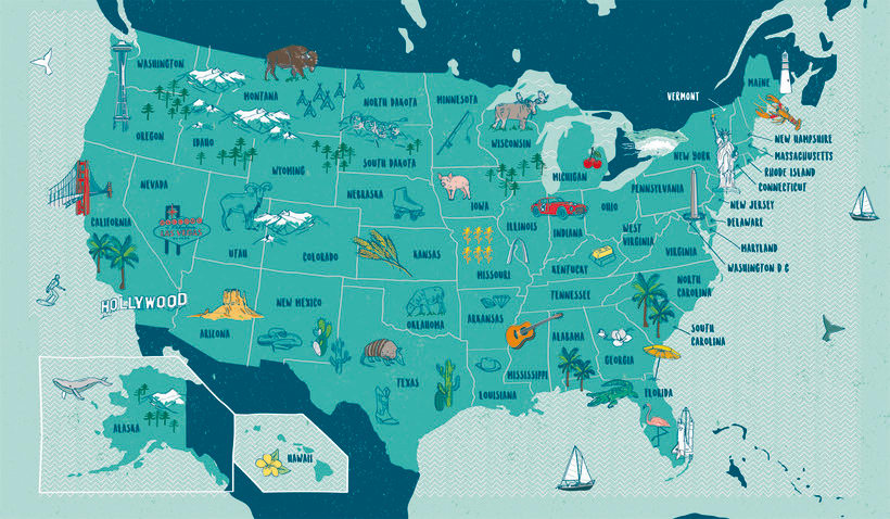 USA Illustrated map 0