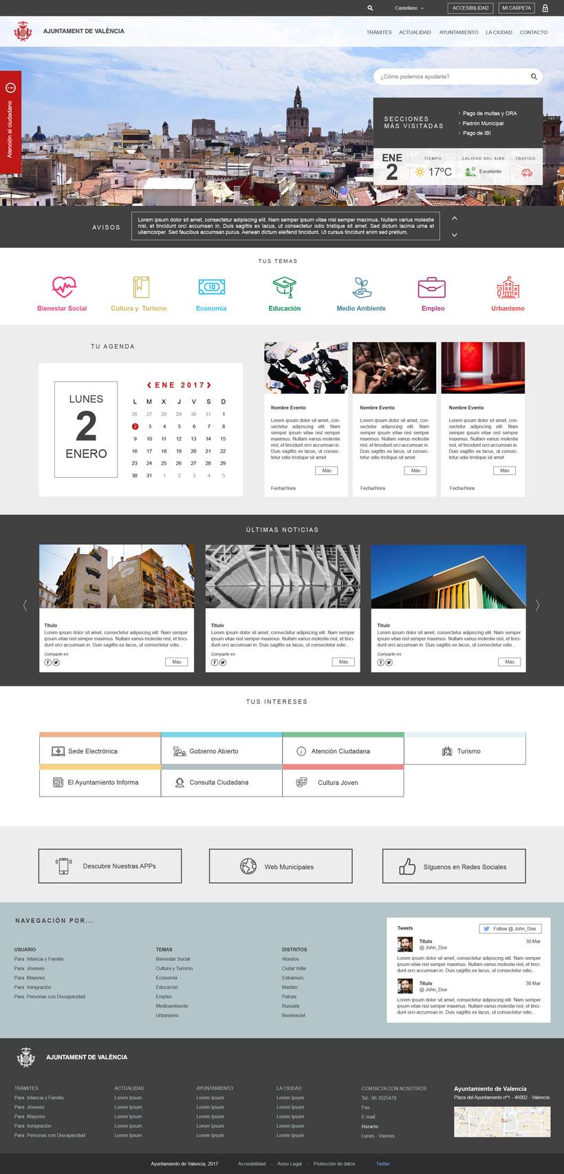 Ayuntamiento de Valencia - Propuesta nueva web (UI Design) 1