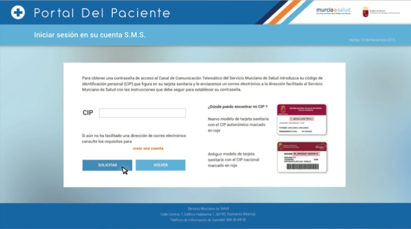 Portal del Paciente de Murcia - Rediseño web (UX/UI Design) 2