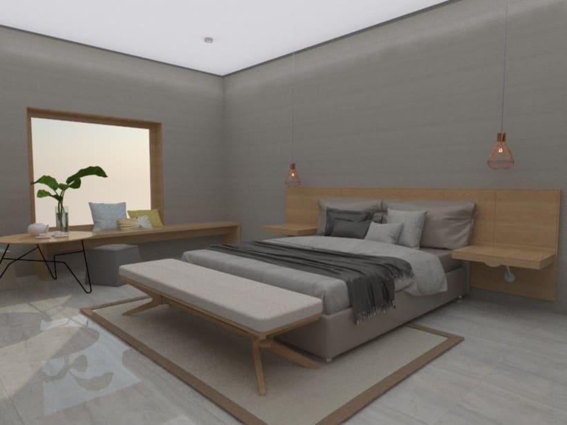 Diseño 3D habitación hotel -1