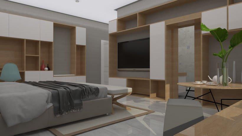 Diseño 3D habitación hotel 0
