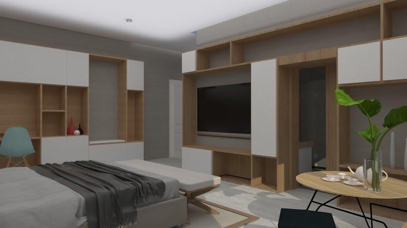 Diseño 3D habitación hotel 1