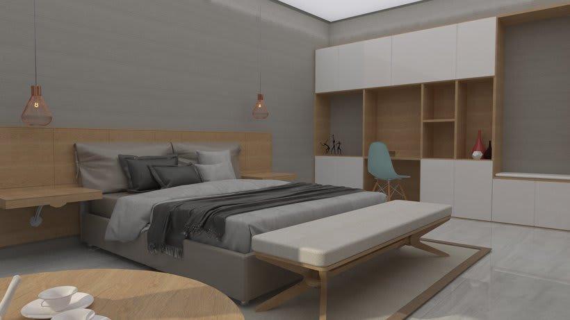 Diseño 3D habitación hotel 2