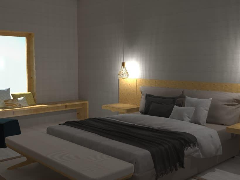 Diseño 3D habitación hotel 3