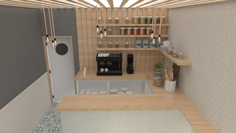 Coffee shop visualizacion 3D 3