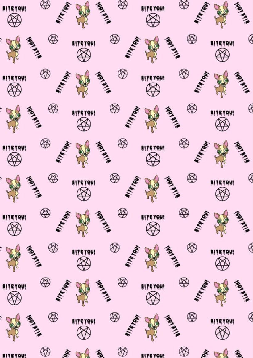 """Estampado """"Mi Chihuhua es satánico"""" :) Dos prints y sus aplicaciones en prenda. 0"""