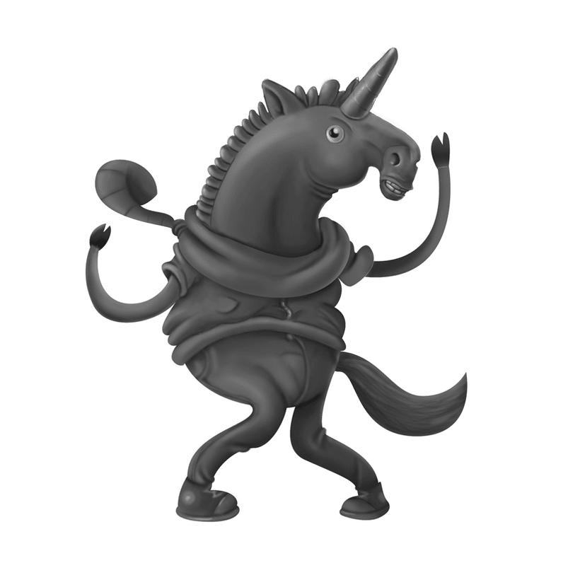Steve el Unicornio infeliz (Diseño de personaje) 4