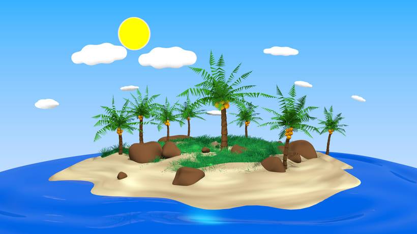 Isla Tropical 3D estilo Toon -1