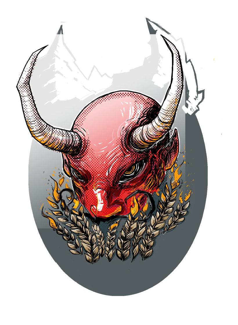 """""""Diablo Moreno"""" - ilustración para uso en etiqueta para cerveza artesanal. 0"""