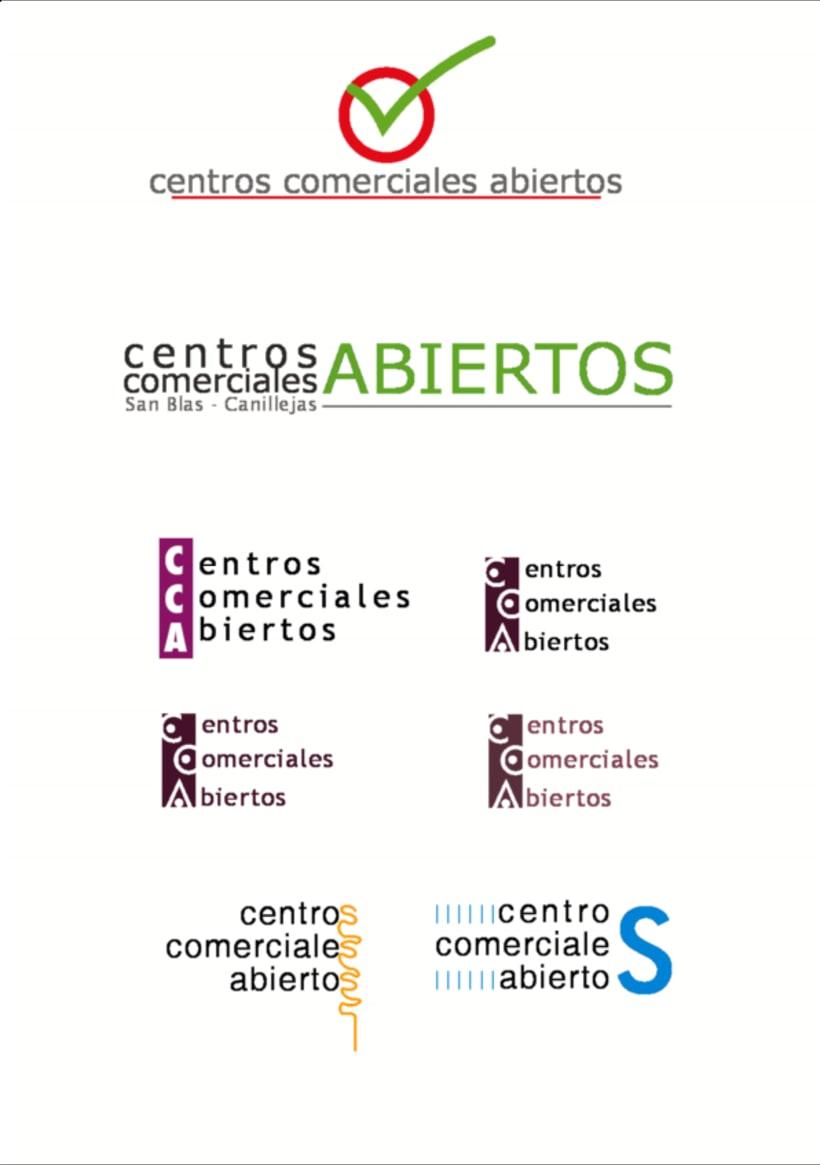 Bocetos para el logo de Centros Comerciales Abiertos de San Blas Madrid 1