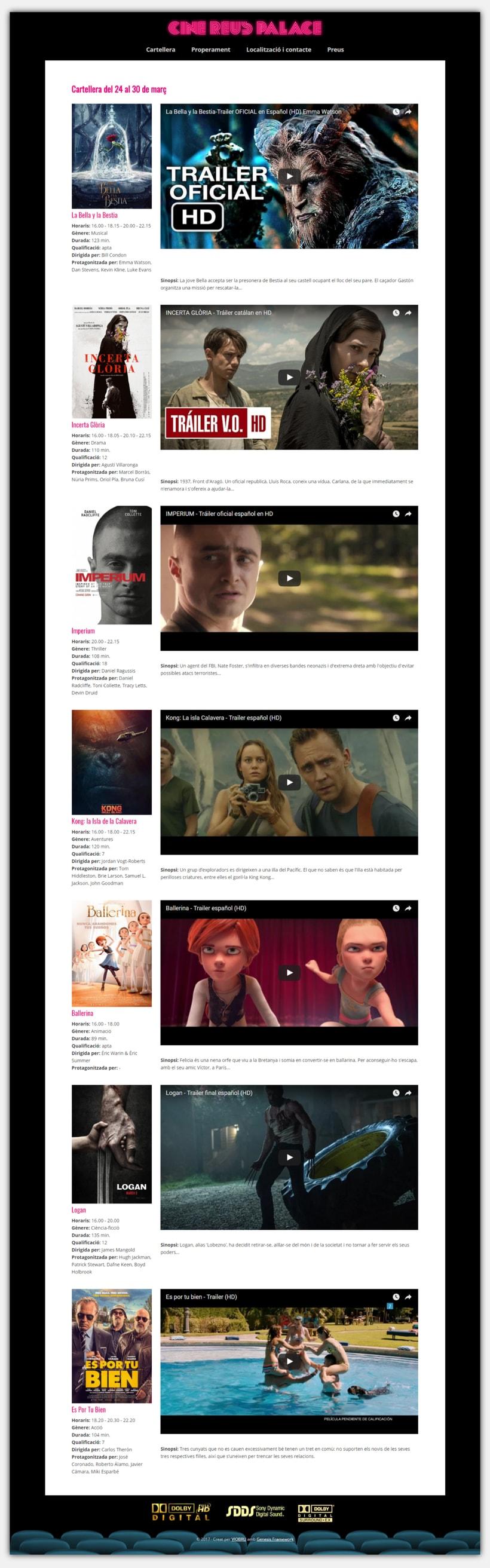 Diseño y desarrollo web para Cine Reus Palace 3