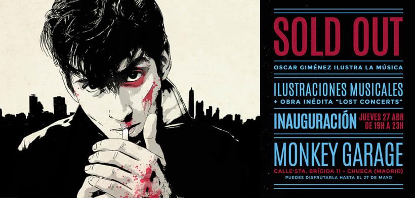 """Invitación a exposición """"SOLD OUT. Oscar Giménez ilustra la música"""" en Madrid 0"""