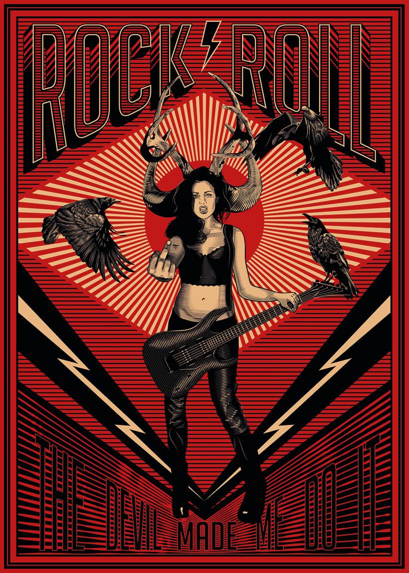 Poster Rock N Roll: Técnicas de grabado digital -1