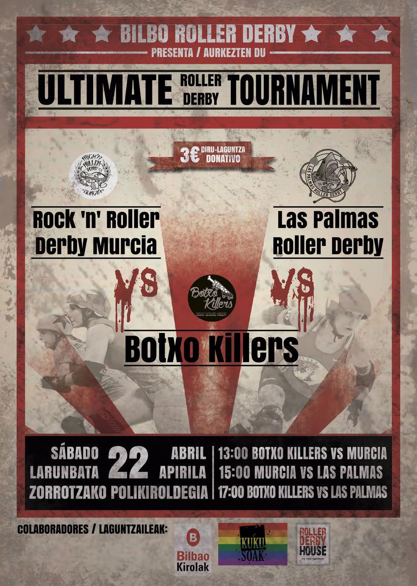 Cartel partido Roller Derby -1