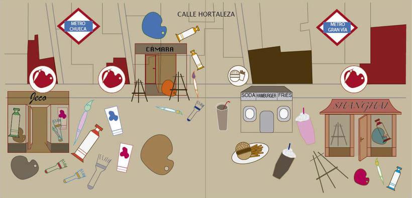 Mapa de la calle Hortaleza_ tiendas de Bellas Artes 0