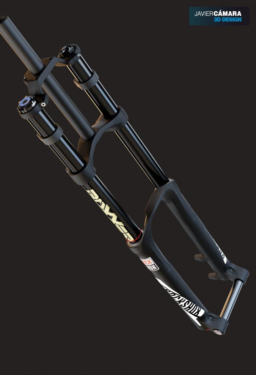 3D Modeling - Downhill Fork Rock Shox Boxxer -1