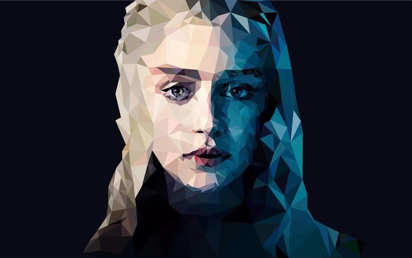 Ilustración de Daenerys estilo Lowpoly 0