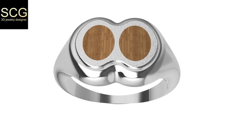 Ring with wood and other... 2