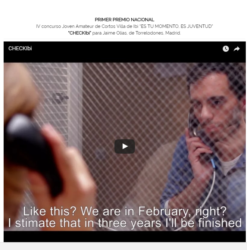 Check. Cortometraje ganador al premio IBI Joven a mejor cortometraje 2015 2