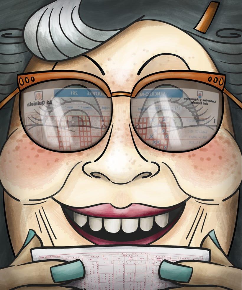 """Ilustración """"Abuela Quiniela"""" ... 70 años esperando. -1"""