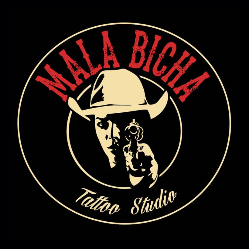 "Branding: ""MALA BICHA Tattoo Studio""_ Dogo Impulsive Design 2"