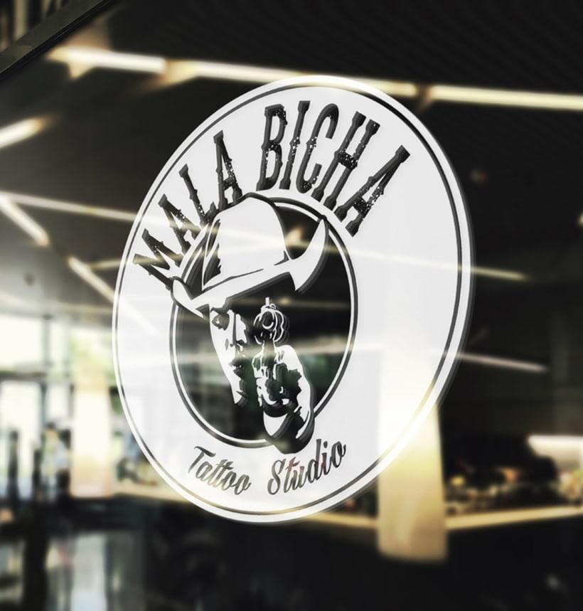 "Branding: ""MALA BICHA Tattoo Studio""_ Dogo Impulsive Design 5"