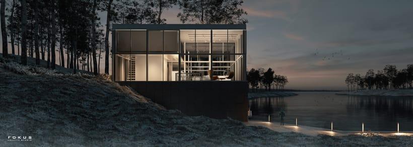 Mi Proyecto del curso: Representación de espacios arquitectónicos con 3D Studio Max-Glass House 1