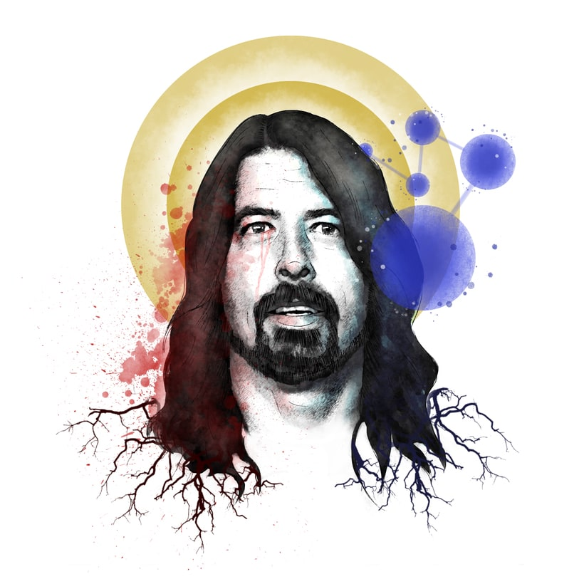 Mi Proyecto del curso: Retrato ilustrado con Photoshop a Dave Grohl -1
