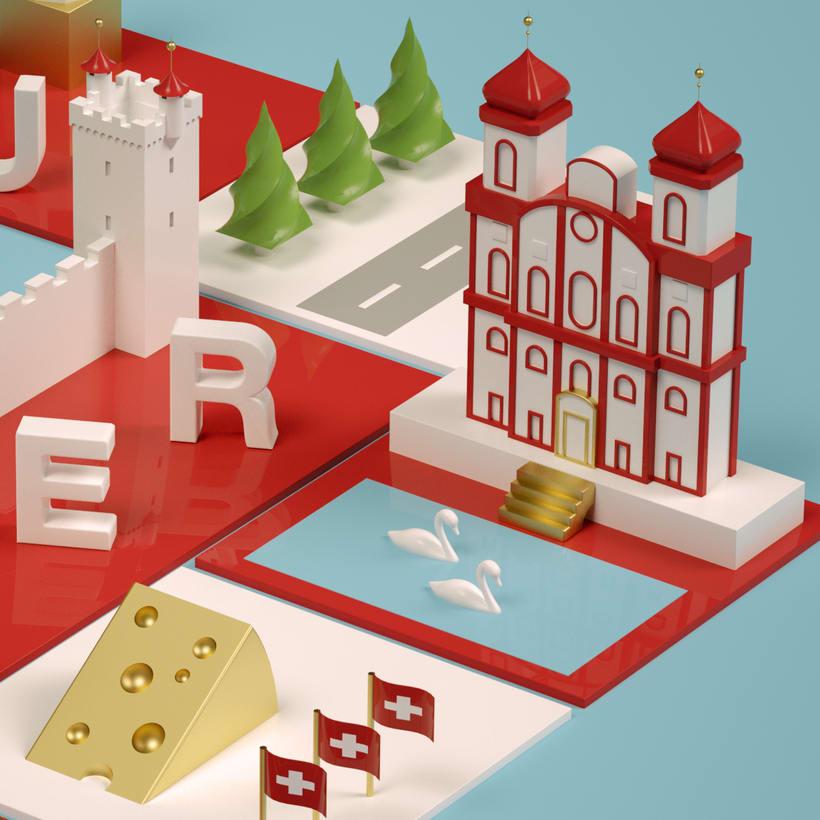Dirección de Arte con Cinema 4D - Berna y Lucerna: ciudades suizas. 4