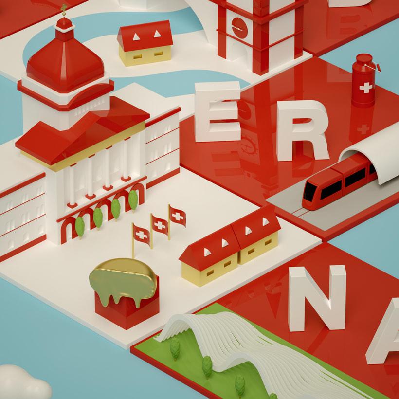 Dirección de Arte con Cinema 4D - Berna y Lucerna: ciudades suizas. 1
