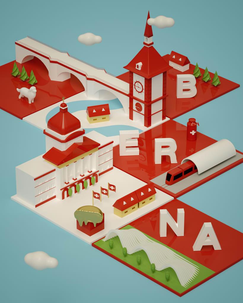 Dirección de Arte con Cinema 4D - Berna y Lucerna: ciudades suizas. 2
