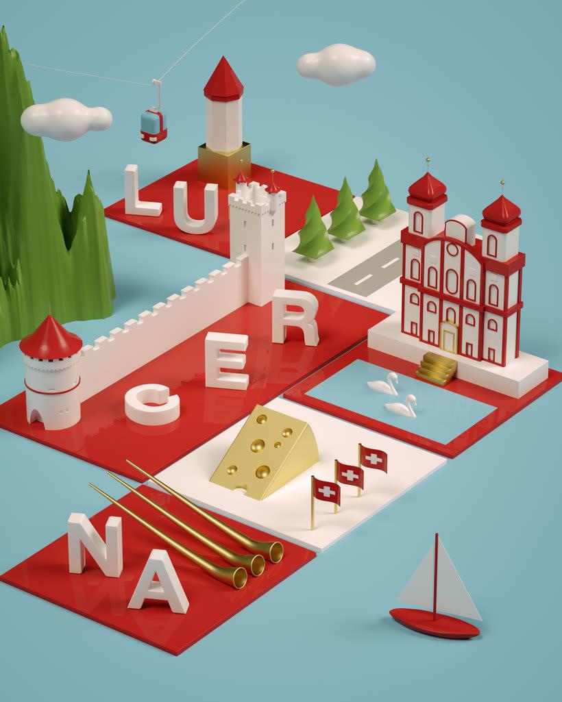Dirección de Arte con Cinema 4D - Berna y Lucerna: ciudades suizas. 5