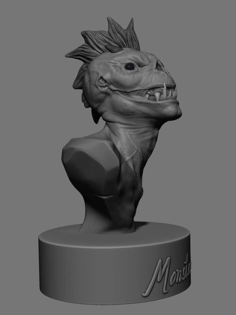 Criatura modelada en Zbrush para 3d printing.  9