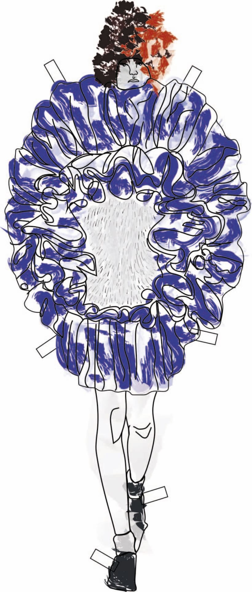 """Ilustración de MODA,  donde se presentan como estampas a los figurines"""" COMME des GARÇONS""""  temporada 16 H-M -1"""