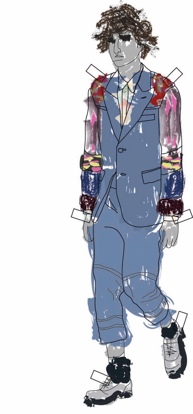 """Ilustración de MODA,  donde se presentan como estampas a los figurines"""" COMME des GARÇONS""""  temporada 16 H-M 0"""