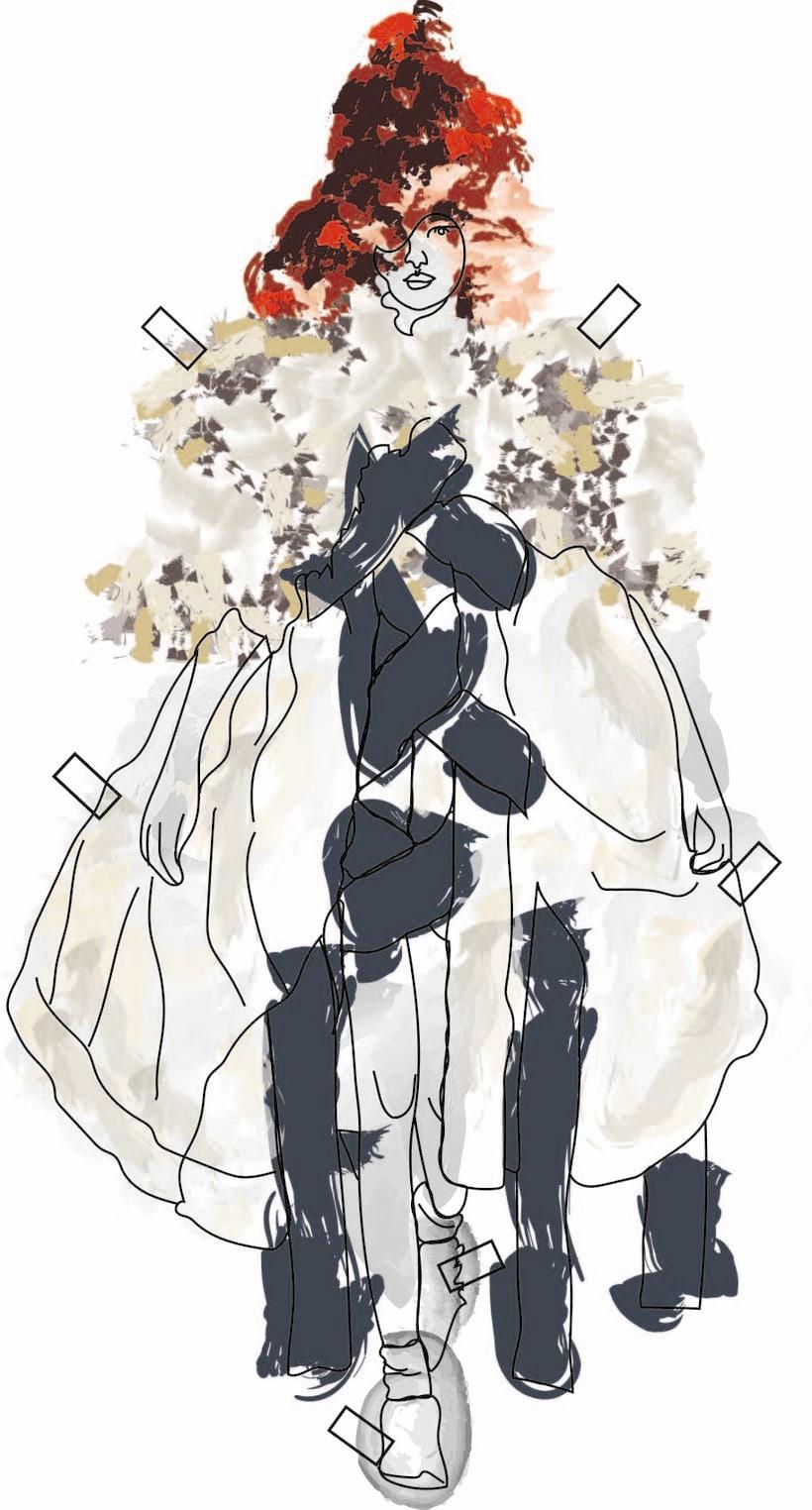 """Ilustración de MODA,  donde se presentan como estampas a los figurines"""" COMME des GARÇONS""""  temporada 16 H-M 3"""